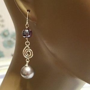 Jewelry - Silver Plate Glass Pearl Drop Earrings